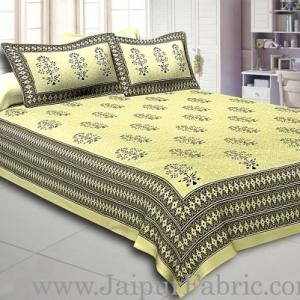 Light Green Base  Black Leaf  Pattern Hand Block Super Fine Cotton Double Bedsheet
