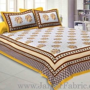 Wholesale Double bedsheet Yellow Border With Big Boota Print Fine Cotton With Two Pillow Cover taxable