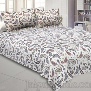 Paisley Blueish Grey 240 TC King Size Double Bedsheet