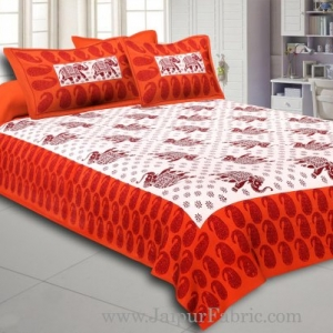 Orange Border With Maroon Base Elephant  Pattern Cotton Double Bed Sheet