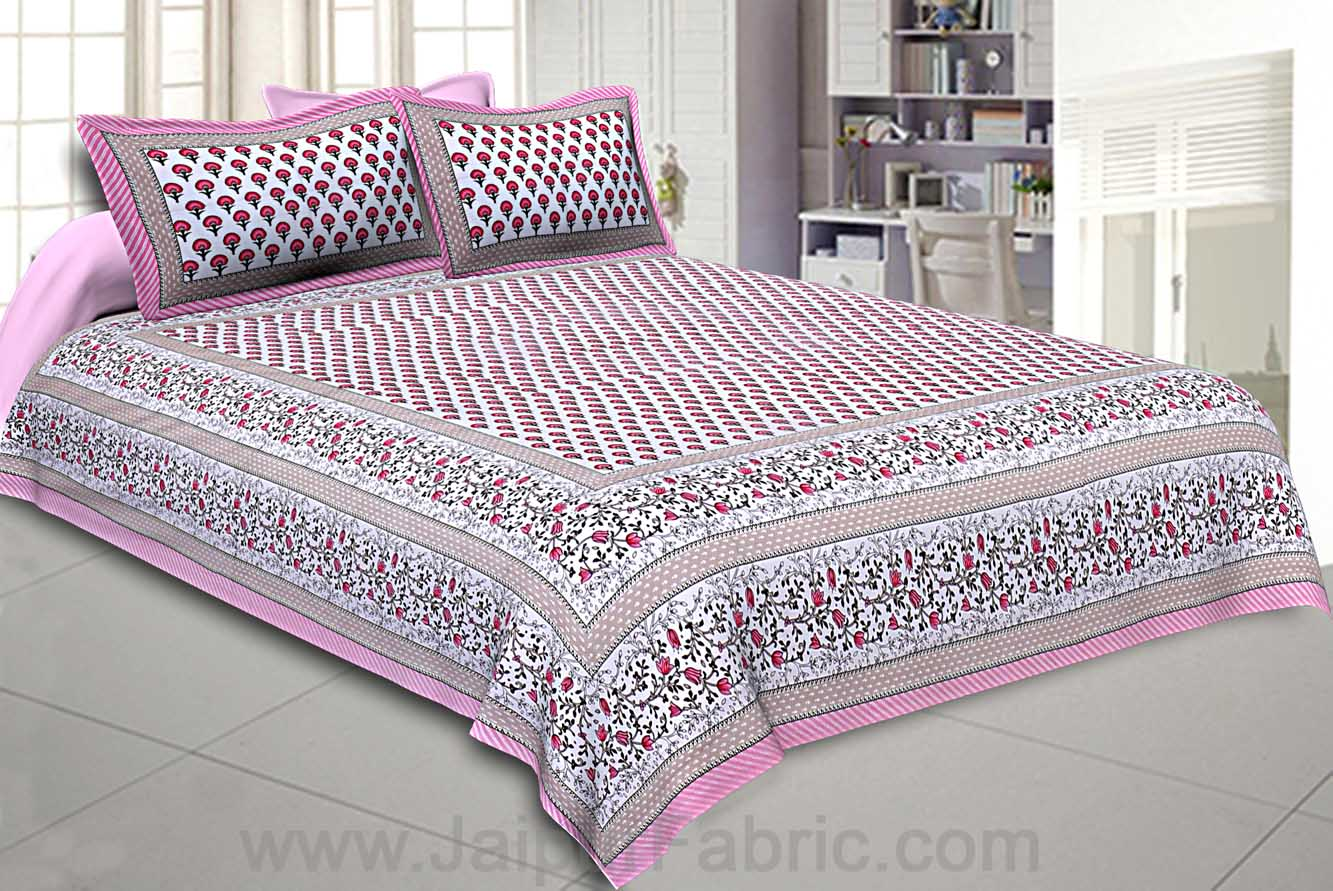 Multi Pink Floral Double Bedsheet with Two Pillow Cover