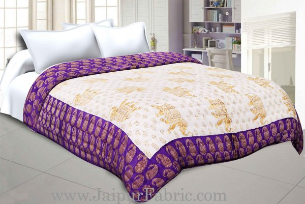 Purple Border Cream Base  With Golden Print Elephant Print Super Fine Cotton Voile(Mulmul) Both Side Printed Cotton Double Bed Quilt