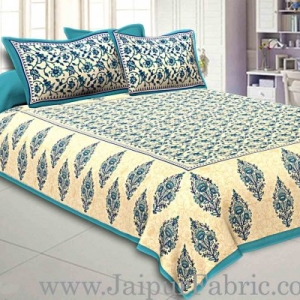Sea Green  Border Tropical keri Design Cotton Double Bed Sheet