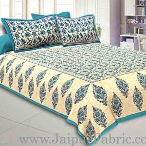 Sea Green  Border Tropical keri Design Cotton Double Bed Sheet