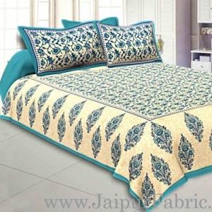 Wholesale Sea Green  Border Tropical keri Design Cotton Double Bed Sheet