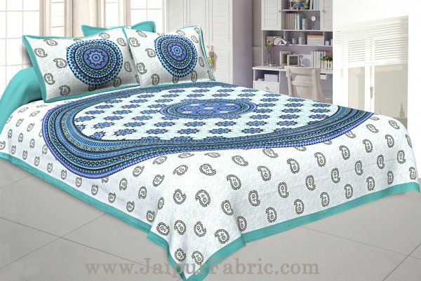 Paisley Sea Green Double Bedsheet