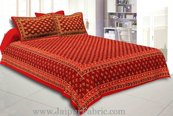 Red Border Red Base leaf  Print Fine Cotton Double Bed sheet  With Pillow Cover