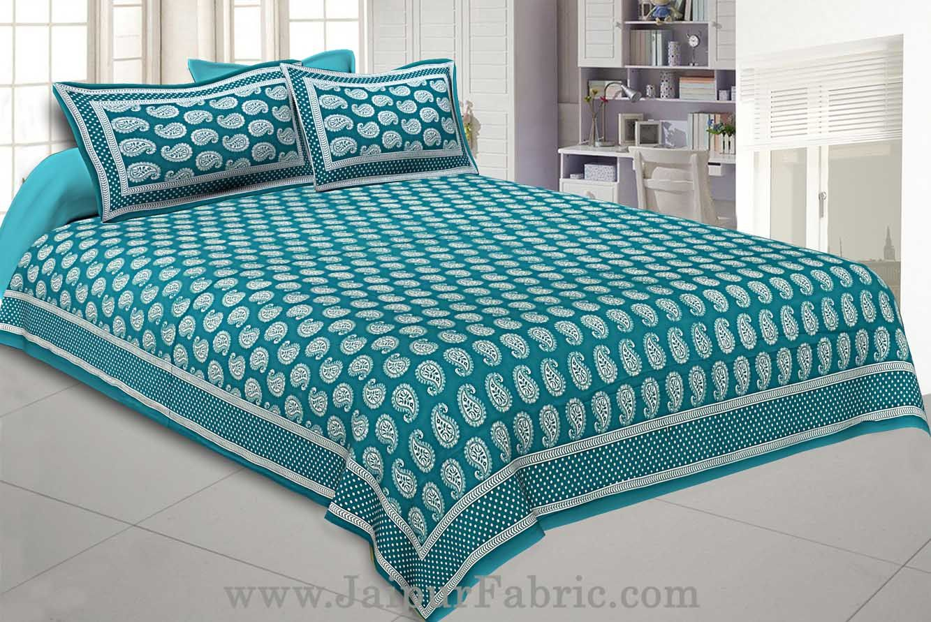Paisley Double Bedsheet Sea Green Color Fine Cotton With Two Pillow covers