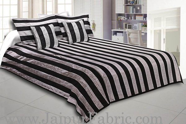 Gray And Black Color Lining Silk festive Double Bed sheet