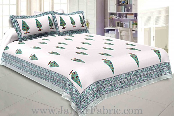 Double Bed Sheet White Base With Kadi Print Multi Tree  Print Super Fine Cotton