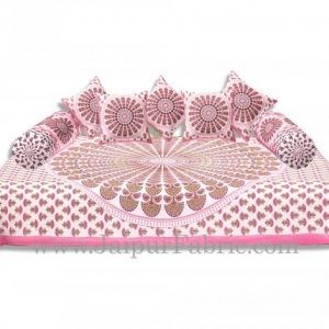 Pink Border Cream Base Mandala Print Diwan Set