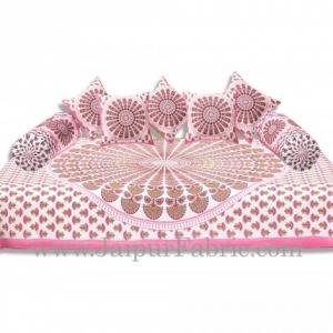 Pink Border Cream Base Mandala Print Diwan Set