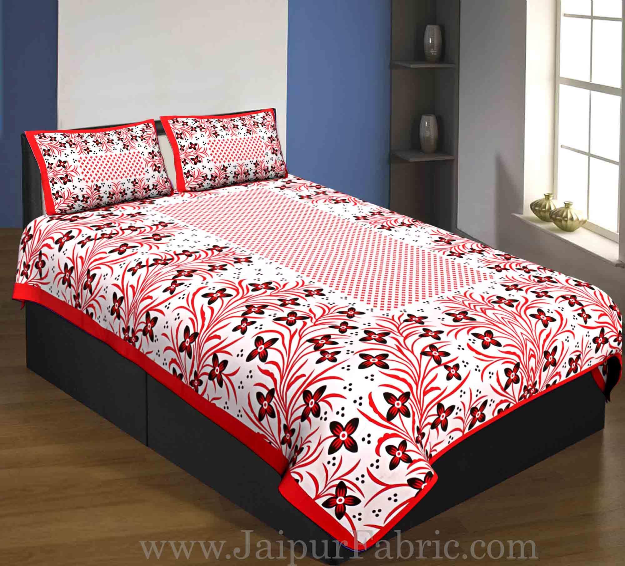 0e4d8dce367 Single Bedsheet Pure Cotton Pink Border Flower Print Zig Zag Pattern