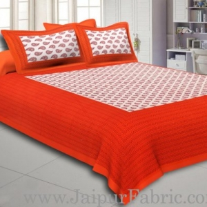 Orange Border Cream Base Kerry Boota Print Cotton Double Bed Sheet