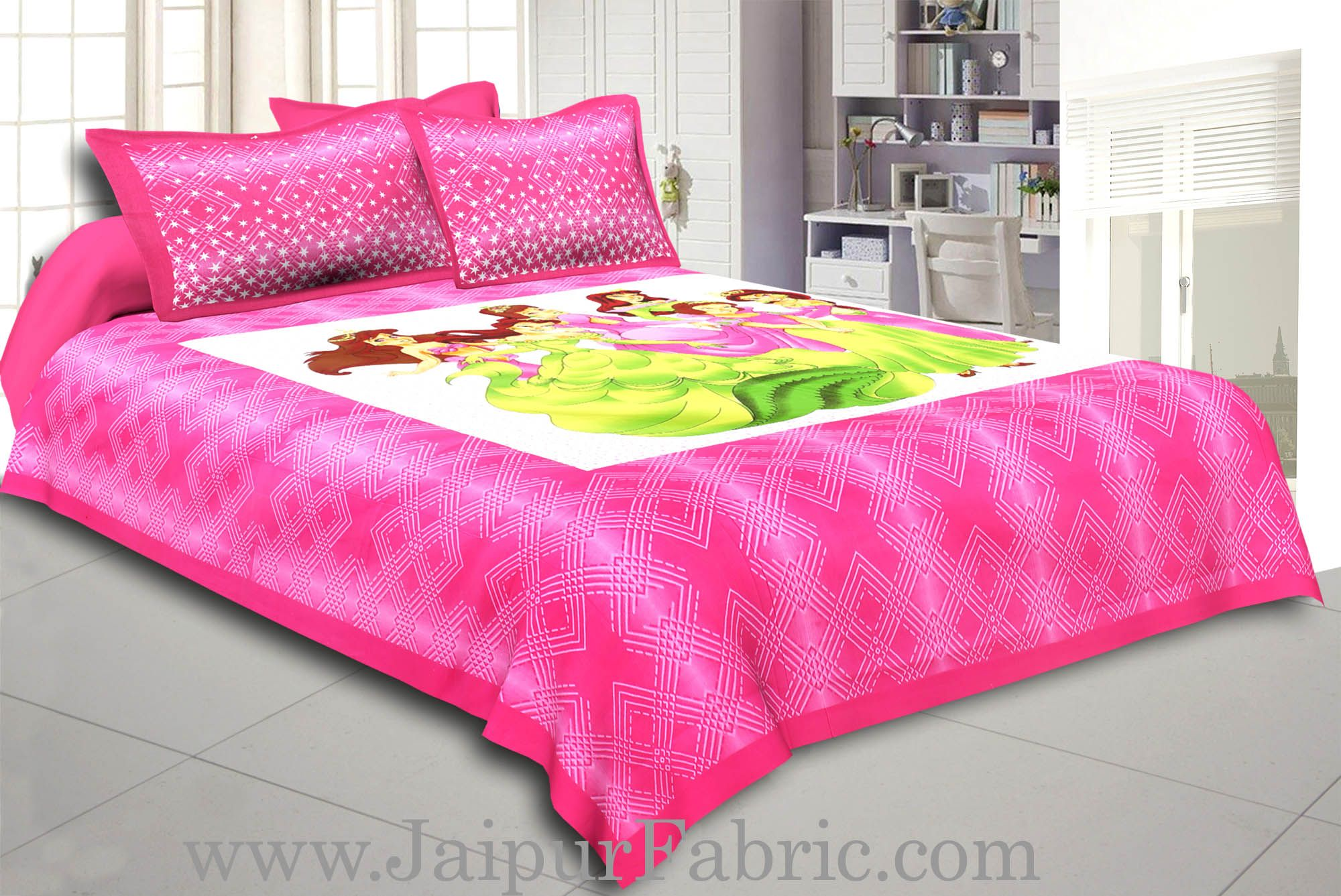 Dark Pink Barbie Doll Cotton Double Bed Sheet