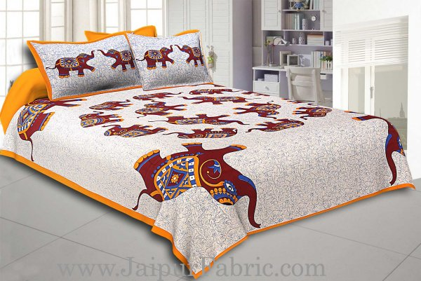 Yellow Border Elephant in Round Shape Cotton Double Bedsheet