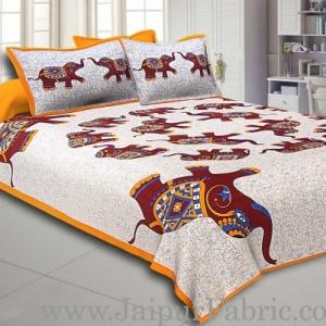 Yellow Border Elephant in Round Shape Cotton Double Bedsheet