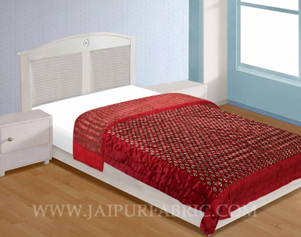 Single Quilt Red Base Golden Floral Print Silk