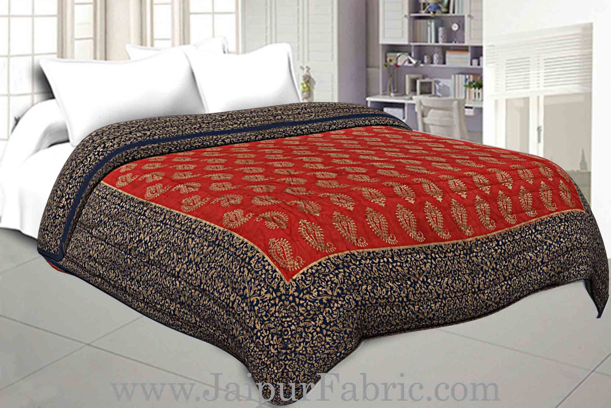 cfa47ed074 Jaipuri Printed Double Bed Razai Golden Red and blue with Paisley pattern
