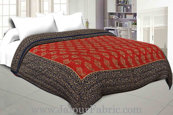 Jaipuri Printed Double Bed Razai Golden Red and blue with Paisley pattern