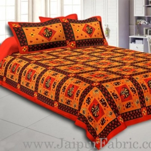 Orange Border Orange Base Gujri Dance In Square Patton Cotton Double Bed Sheet