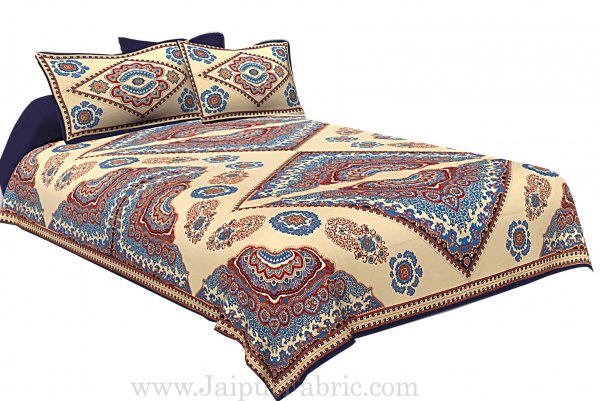Blue Border Multi Big Boota Golden Boota Fine Cotton Double Bedsheet With Two Pillow