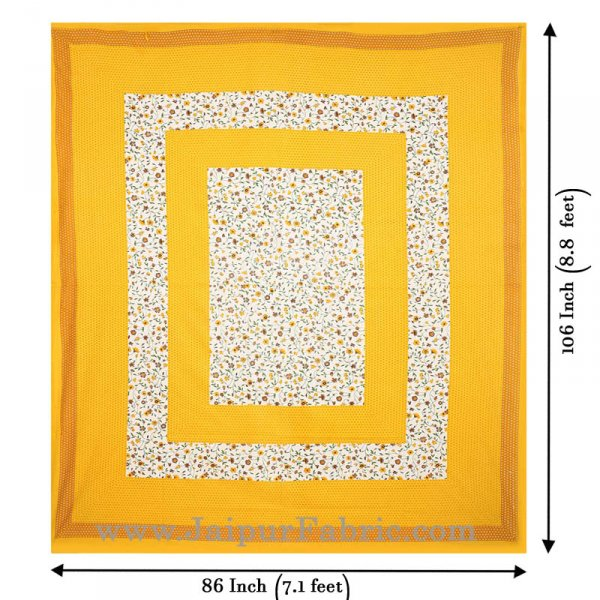 Floral Double Bedsheet Yellow Color Dotted Border with 2 Pillow Covers