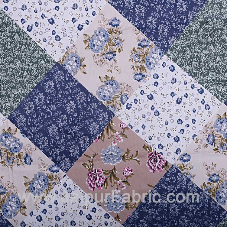 Twill Geometric Double Bedsheet Blue White Multi Floral