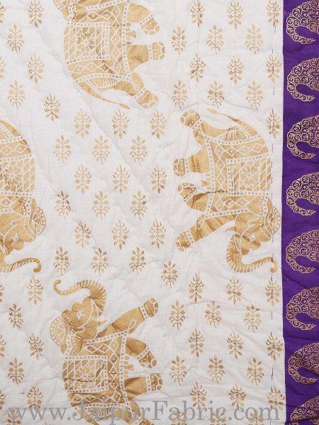 Purple Border Cream Base  With Golden Print Elephant Print Super Fine Cotton Voile(Mulmul) Both Side Printed Cotton Double Bed Quilt
