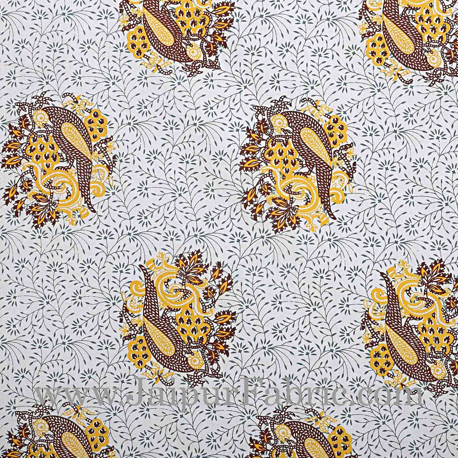 Double bedsheet Yellow Border With Big Boota  Print Fine Cotton With Two Pillow Cover