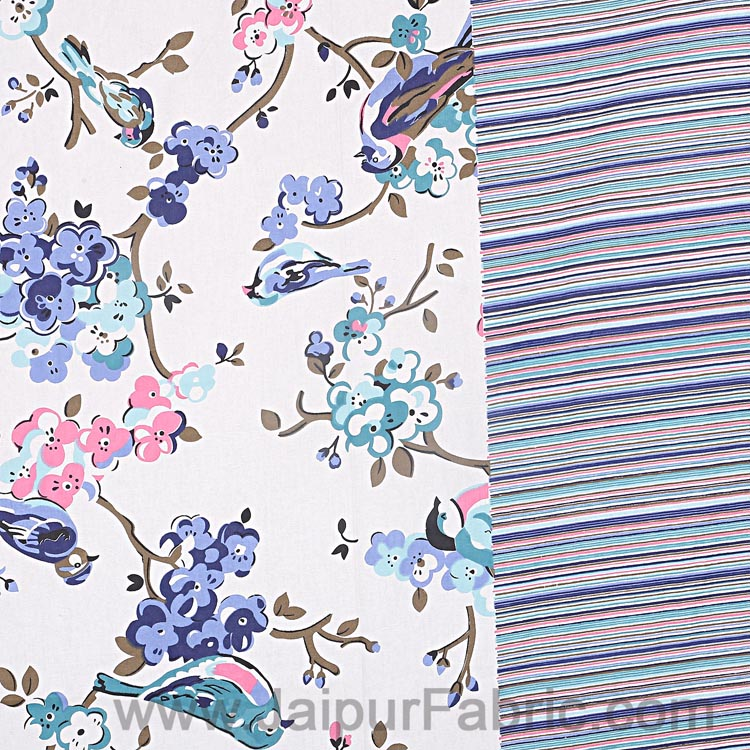 Double Bedsheet Livid Colorful Sparrows  Design Print