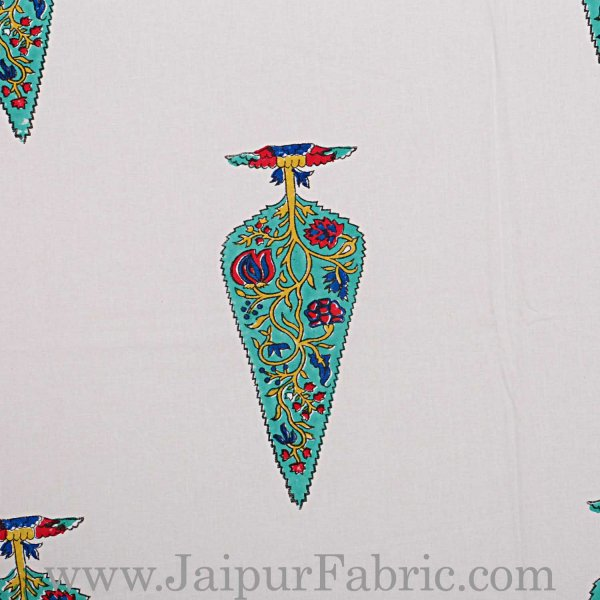 Double Bed Sheet White Base With Kadi Print Multi Tree  Print Super Fine Cotton