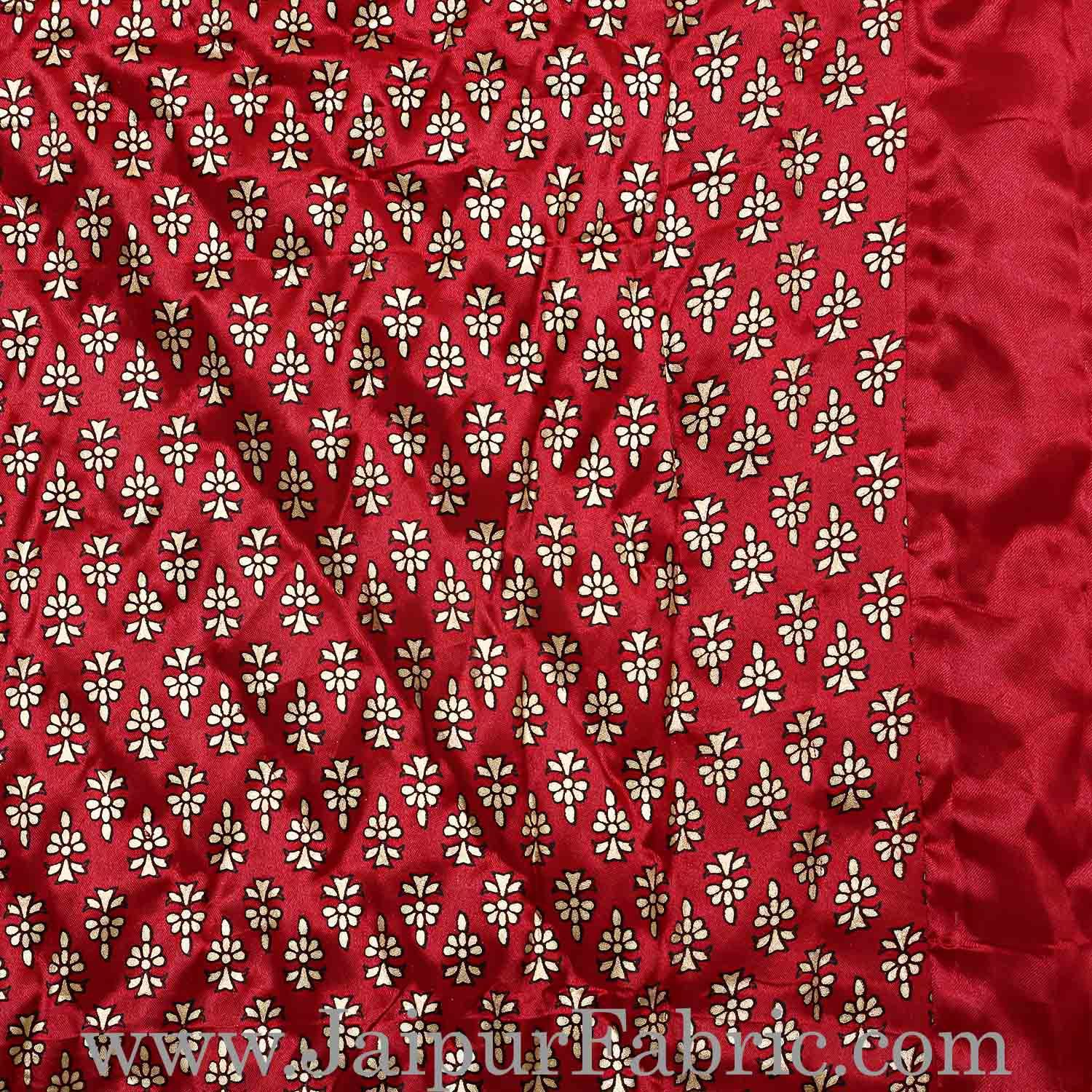 Single Quilt Maroon Base Golden Floral Print Silk