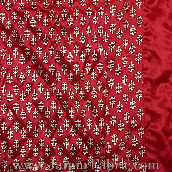 Single Quilt Red Base Golden Floral Print Silk