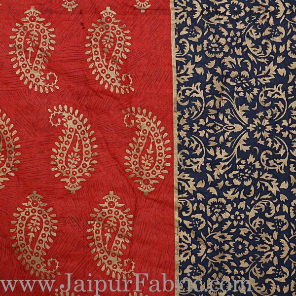 Jaipuri Printed Double Bed Razai Golden Red and black with Paisley pattern