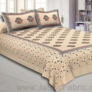 King Size Double Bedsheet Cream Satrangi Motif