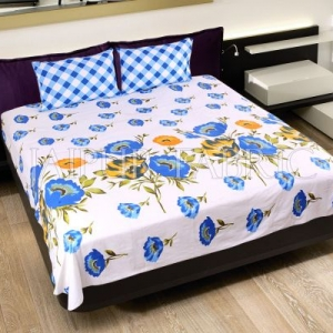 Blue Checkered Plaid Pattern Double Bed Sheet