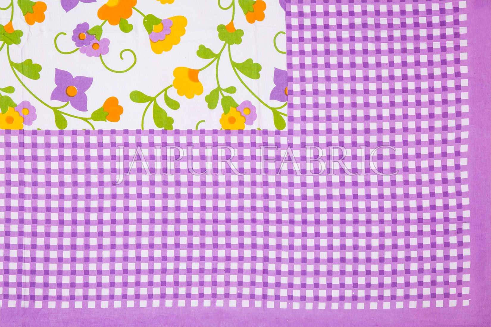 Purple Checks White Base Floral Print Single Cotton Bed sheet