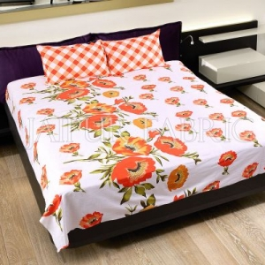 Orange Checkered Plaid Pattern Double Bed Sheet