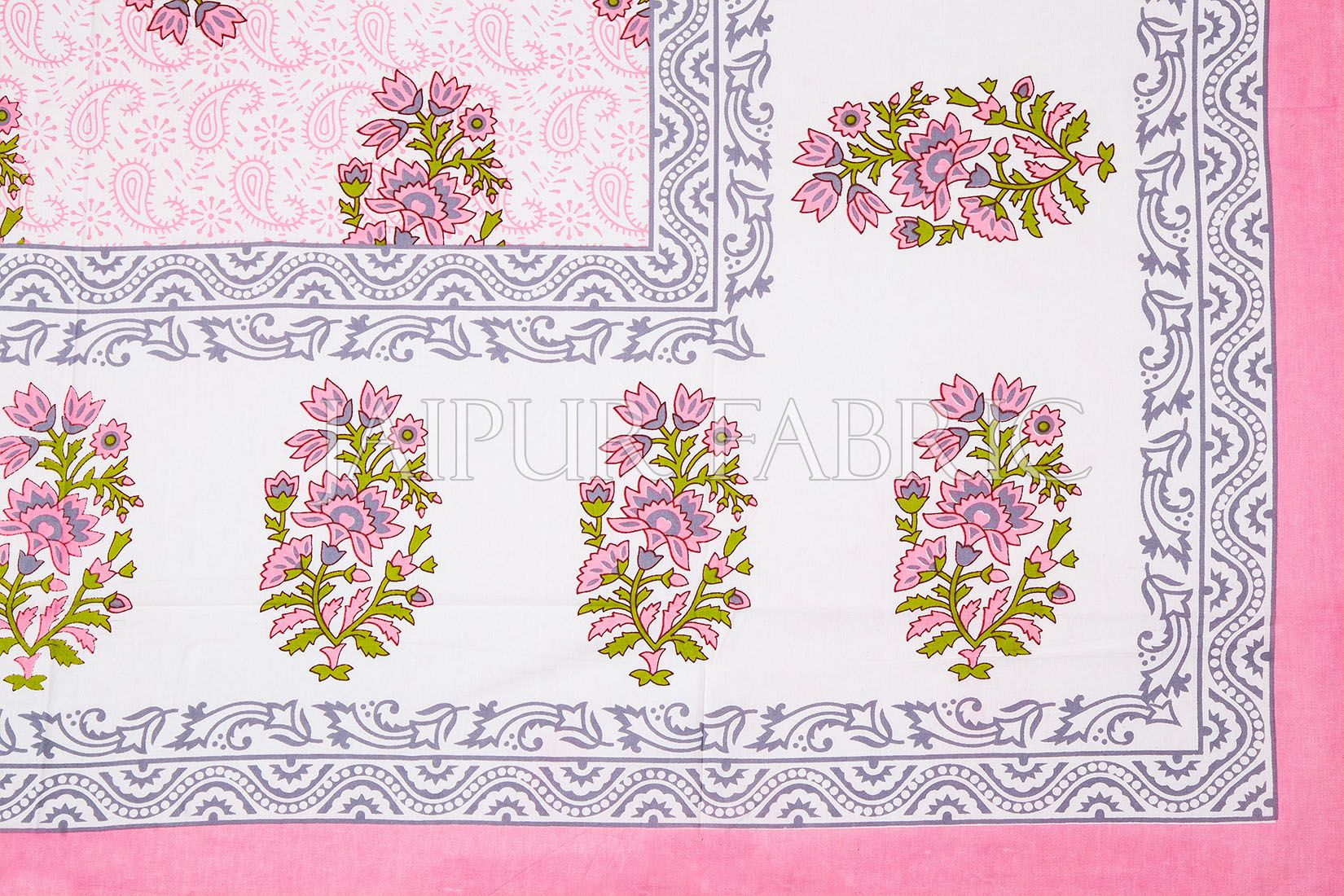White Base Pink Floral Print Cotton Single Bed Sheet