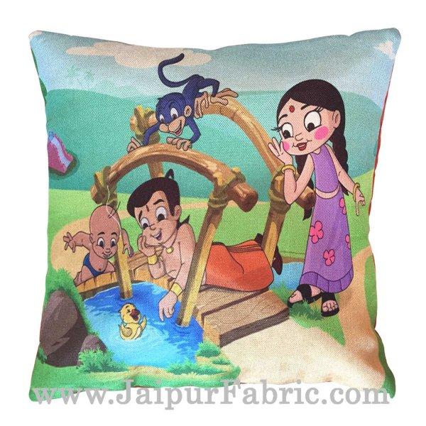 Jute Cushion Cover Digital Print Chota Bheem