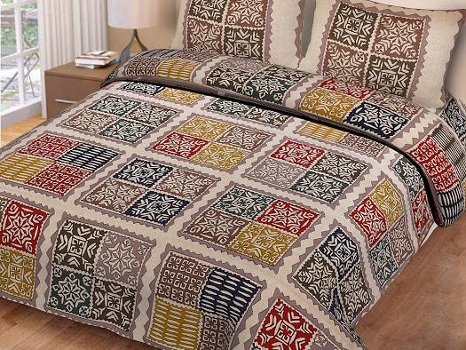 Double bedsheet light Katha Barmeri Print