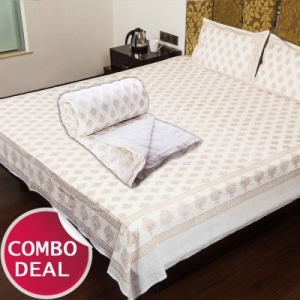 COMBO8 - Set Of Double Bed Cotton Bed Sheet & Double Bed Quilt