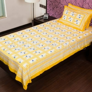 Yellow Color White Base Floral Print  Single Bed Sheet
