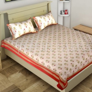 Red Border Trellis Base Floral Printed Cotton Single Bed Sheet