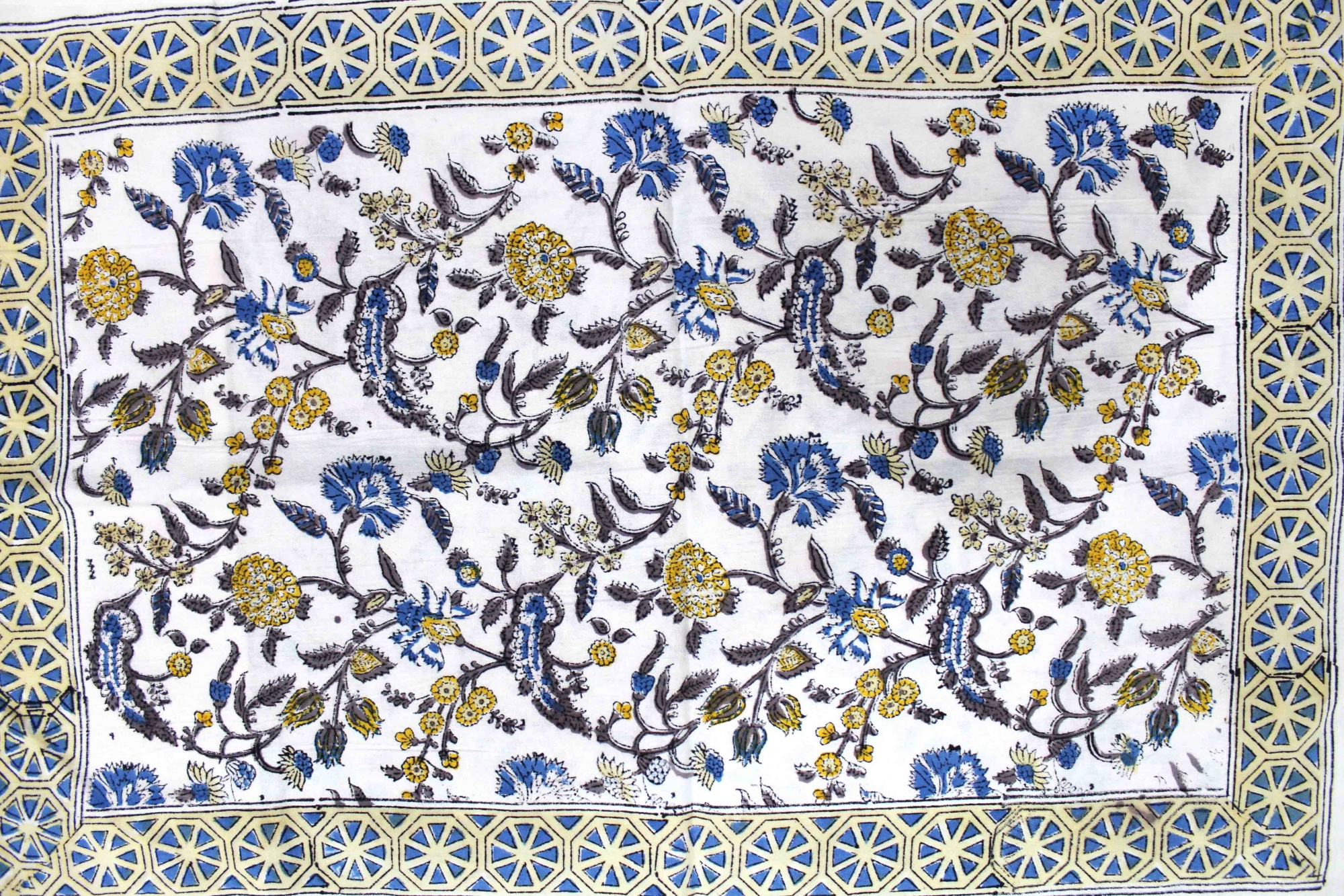 Blue Border with White Base Floral Hand Block Print Double Bed Sheet with Two Pillow Covers