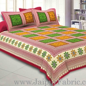 Double bedsheet  Maroon Border Multi Checks Pattern Smooth Touch With 2 Pillow Cover