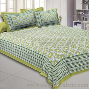 Double Bedsheet Green Border Round Circle Cotton With 2 Pillow Covers