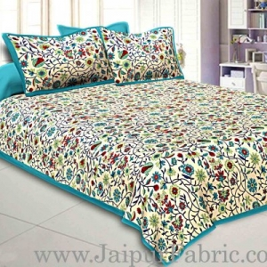 Double Bedsheet With Sea Green Branch Of Pomegranate With Two Pillow Cover