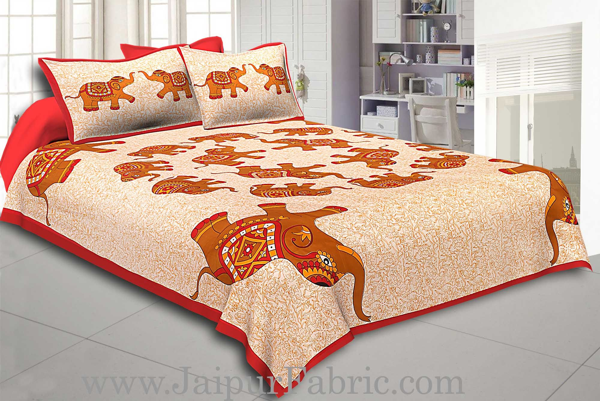 Maroon Border Elephant in Round Shape Cotton Double Bedsheet